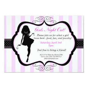 girls night invitations zazzle