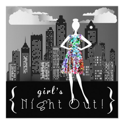 Girl's Night Out On The Town Party Invites | Zazzle