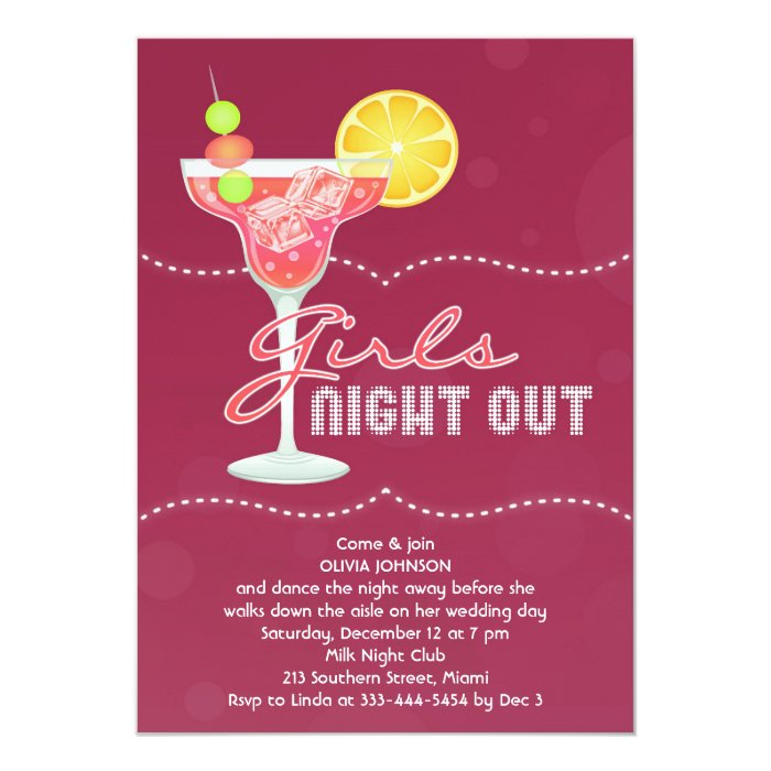 Girls Night Out Party Invitation   Zazzle