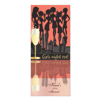 Girls Night Out, Party on the Town - Coral Peach Card