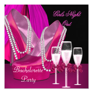 Girls Night Out Pink Shoes Hi Heels Champagne Card