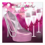 Girls Night Out Pink Shoes Hi Heels Champagne Personalized Announcement