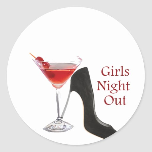 Girls Night Out Round Stickers