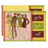 Girls Night Out Vintage 70s Invitation