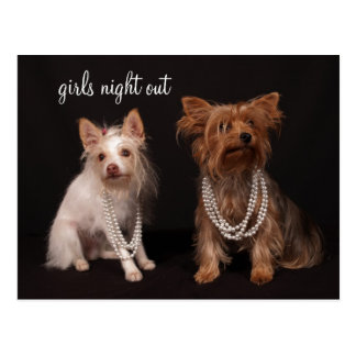 Girls Night Out Yorkie Pearls Postcard