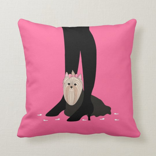 Girls' Night Out! Yorkshire Terrier Throw Pillow