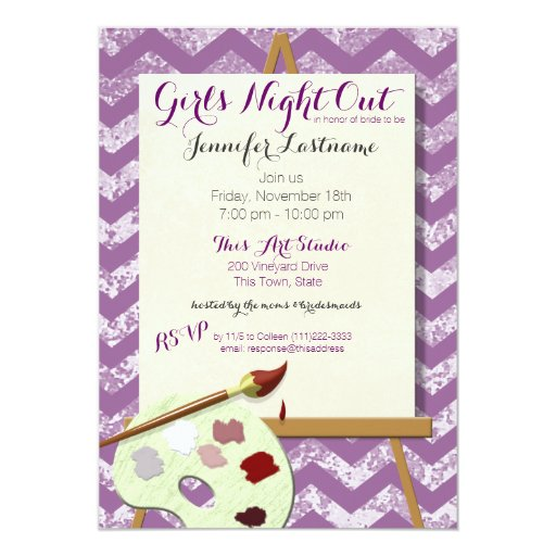 Girl's Night Painting Art Party 5x7 Paper Invitation Card ...