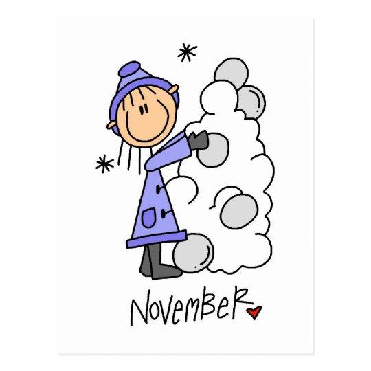 Girl's November Birthday Postcard