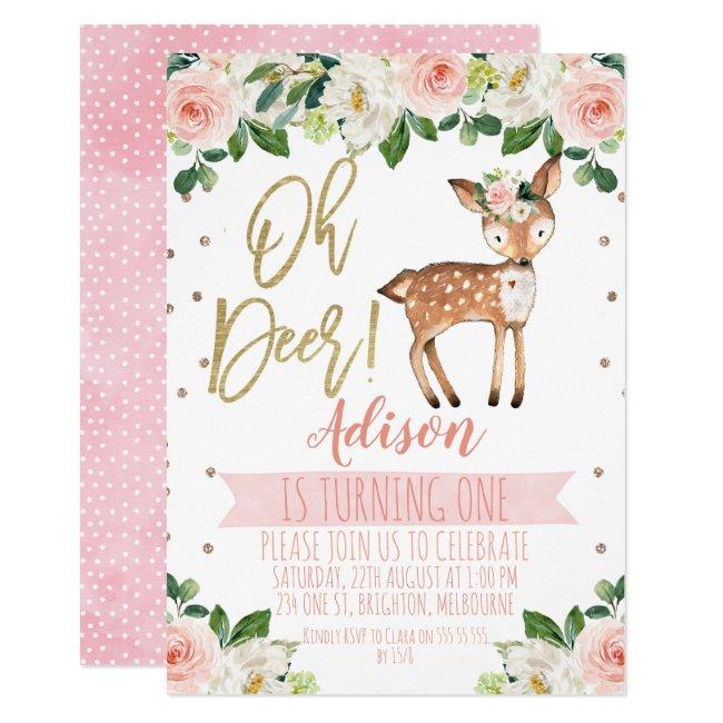 Girls Oh Deer Birthday Party Invitation