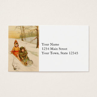 Girls on a Sled in Winter Snow Business Card