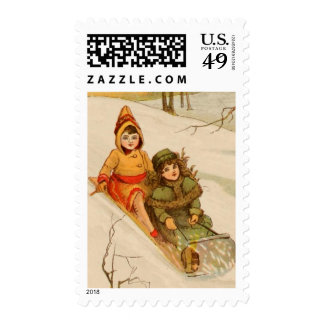 Girls on a Sled in Winter Snow Postage Stamp