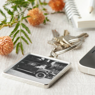 Girls On Car Black & White Premium Square Keychain