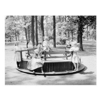 Girls on Merry-Go-Round, 1910 Postcard
