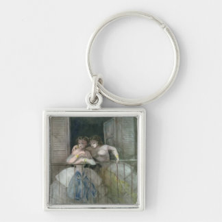 Girls on the Balcony, 1855-60 Silver-Colored Square Keychain