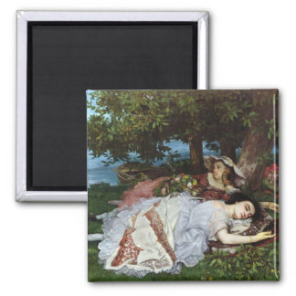 Girls on the Banks of the Seine, 1856-57 2 Inch Square Magnet