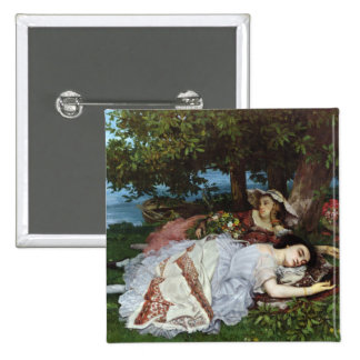 Girls on the Banks of the Seine, 1856-57 Pinback Button
