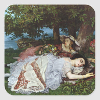 Girls on the Banks of the Seine, 1856-57 Square Sticker