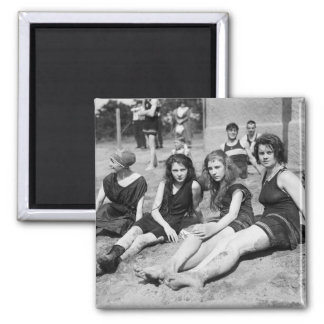 Girls on the Beach, early 1900s 2 Inch Square Magnet