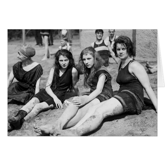 Girls on the Beach, early 1900s Card