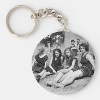 Girls on the Beach, early 1900s Basic Round Button Keychain