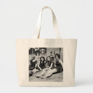 Girls on the Beach, early 1900s Large Tote Bag
