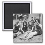 Girls on the Beach, early 1900s Magnet