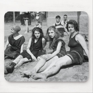 Girls on the Beach, early 1900s Mousepad