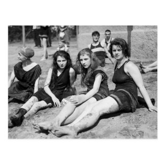 Girls on the Beach, early 1900s Postcard