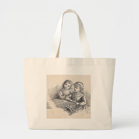 Girls on the Easy To Read Inside Cover Page Large Tote Bag