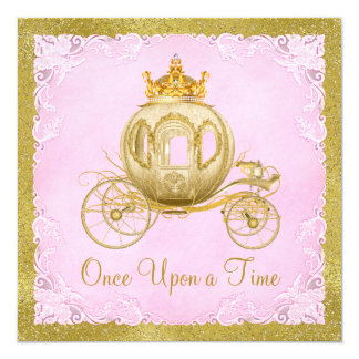 Girls Once Upon a Time Princess Carriage Birthday 5.25x5.25 Square Paper Invitation Card