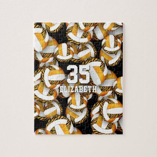 Girls orange gold with zebra stripes volleyballs jigsaw puzzle