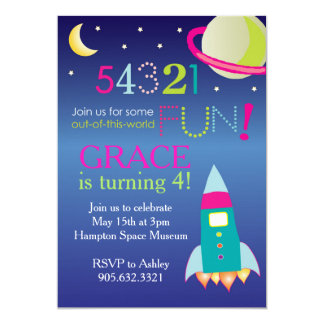 Girl's Out of this World Space Party Card