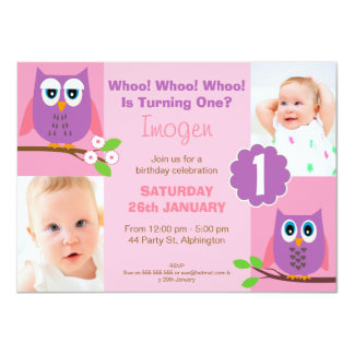 Girls Owl 1st Birthday Party Invitation