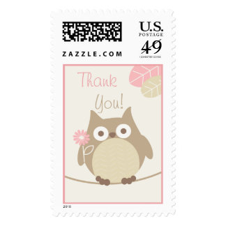 Girls Owl Baby Shower Thank You Postage