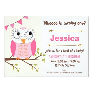 Girls Owl Birthday Invitation