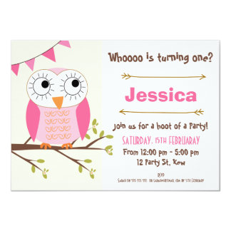 Girls Owl Birthday Invitation 11 Cm X 16 Cm Invitation Card