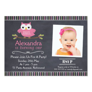 Girls Owl Photo Chalkboard Birthday Invitation