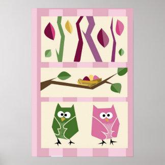 Girls Owl Wall Decor 2 Poster