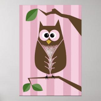 Girls Owl Wall Decor Poster