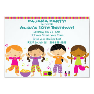 Girls Pajama Party 5x7 Paper Invitation Card