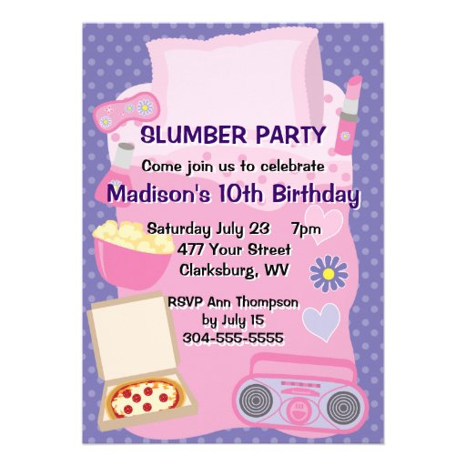 Girl's Pajama Party Announcements