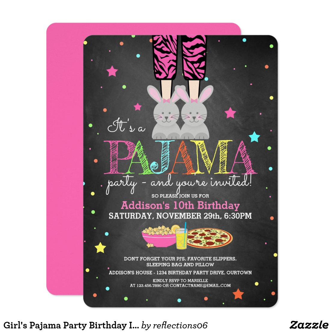 Girl's Pajama Party Birthday Invitations