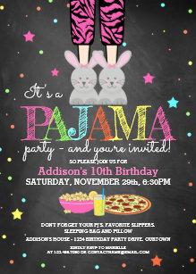 girls pajama party birthday invitations