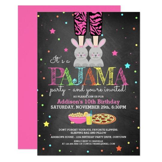 girl s pajama party birthday invitations zazzle com