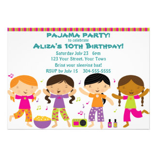 Girls Pajama Party Personalized Announcement