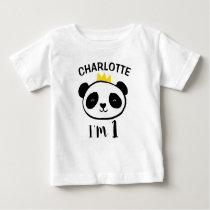 Girls Panda Bear Princess 1st Birthday T-Shirt