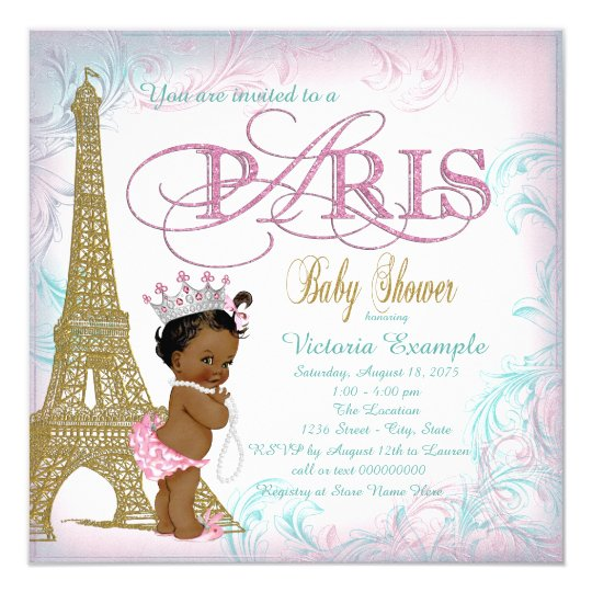 Wonderful Girls Paris Baby Shower Pink Gold Teal Pearls Card