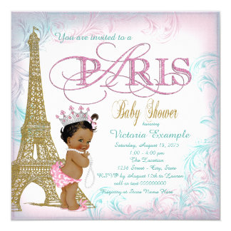 Girls Paris Baby Shower Pink Gold Teal Pearls 5.25x5.25 Square Paper Invitation Card