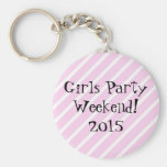 Girls Party Weekend Basic Round Button Keychain