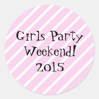 Girls Party Weekend Classic Round Sticker